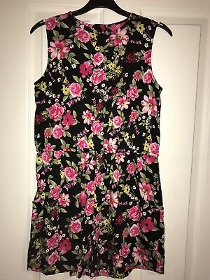 Girls Black playsuit with pink flowers 12-13 years from PRIMARK