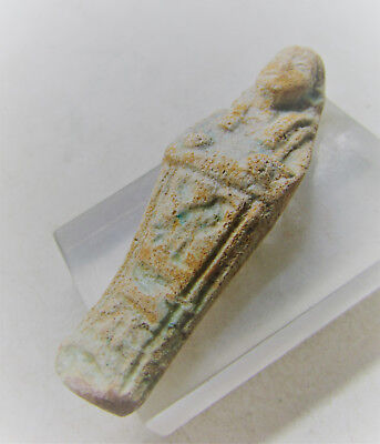 Ptolemaic Period Ancient Egypt Glazed Ushabti Shabti Amulet With Heiroglyphs