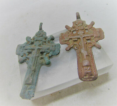 Lovely Group Of Two Medieval Cross Amulets (Damage To Loops)