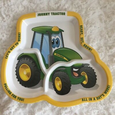 John Deere Johnny Tractor Kids Melamine Plastic Divided Dinner Plate