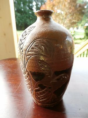 ASIAN ORIENTAL Hand Made Brown Pottery PHOENIX-DRAGON SAKE VESSEL-MARKED