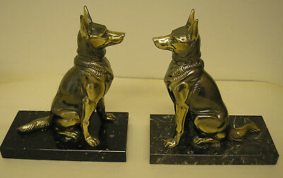 Pair Of French Spelter/marble Alsation Dog Bookends Art Deco Style
