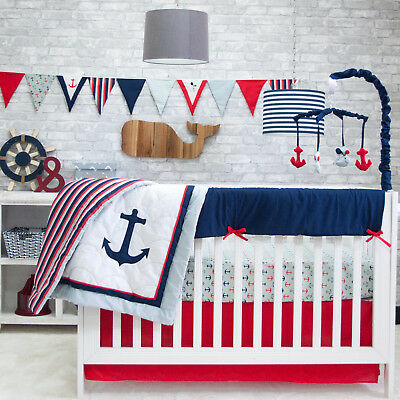 Red White Blue Pam Grace Anchors Away 6 Piece Crib Bedding Set