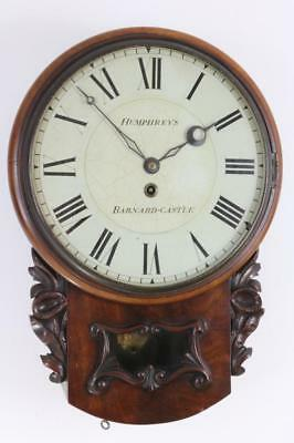 ANTIQUE ENGLISH WALL CLOCK single fusee MAHOGANY CASE stuning dial SLIM SURROUND