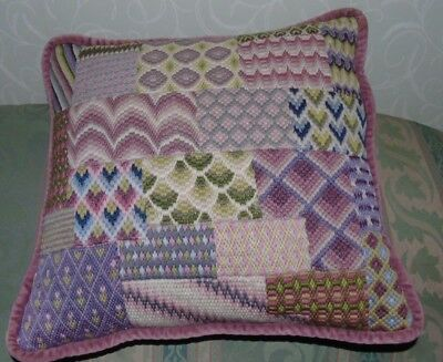 VINTAGE RETRO Needlepoint  Shabby Chic Boho Tapestry Gorgeous Colours Cushion