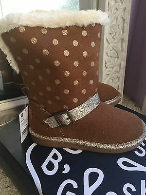 OshKosh B'Gosh Iris G Polka Dot Lined Brown Boots Toddler/Little Girls NEW
