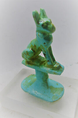 Beautiful Ancient Egyptian Glazed Faience Seal Stamp With Bastet On Top