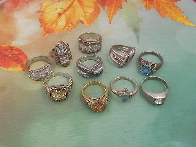 Lot Vintage Jewelry Sterling Silver Rings Mixed Lot Of 10 Assorted  # 1 $1Nr