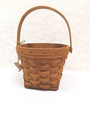 Vintage Longaberger Measuring Basket With Handle & Hearts Dated 1989 Made In Usa