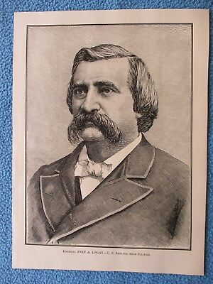"1883 Civil War Print - ""General John A. Logan, U.S. Senator From Illinois"""