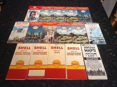Vintage 'Esso' & Shell road maps, United States & Canada
