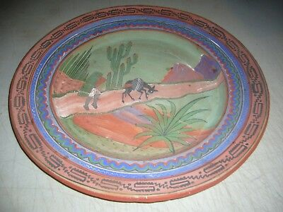 """Vintage Large Mexican Pottery Terracotta Platter 15 3/8"""" Hand painted"""