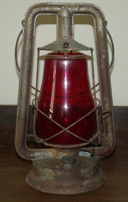 Antique Shapleigh Hardware Kerosene Lamp with intact Red Glass