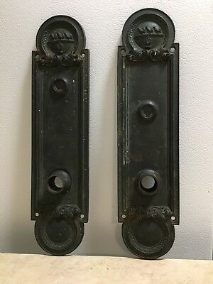 Large Ornate Bronze/Brass Door Plates (2) Antique