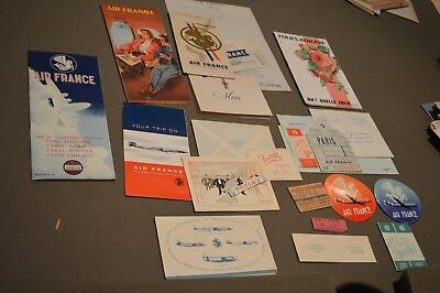 Vintage 1950s Air France Airlines Luggage Label & Brochures map LOT