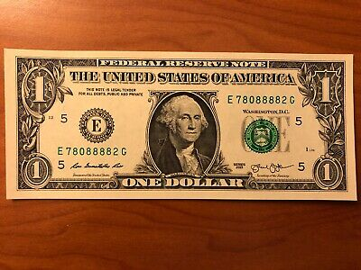 J38533338C ONE $1 Dollar Bills TRINARY SOLID QUADs in SERIAL NUMBER/'s