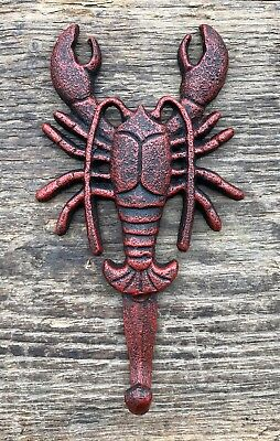 Cast Iron Nautical New England Red Lobster Wall Hook