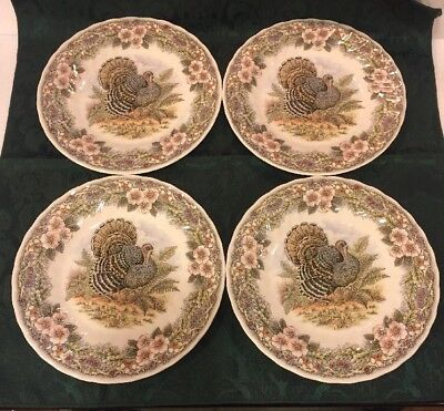 """Set of 4 QUEEN'S """"THANKSGIVING"""" LUNCH PLATE(S) MYOTT FACTORY ARCHIVE 8"""""""