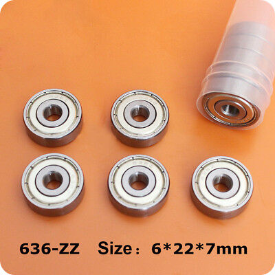 5Pcs Deep Groove Ball Bearings 636ZZ 636-2Z Size 6*22*7mm Precision Shaft Steel