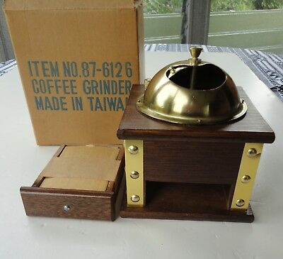 Vtg Mint Box Wood Brass Manual Hand Crank Gailstyn Coffee Grinder Taiwan 87-6126