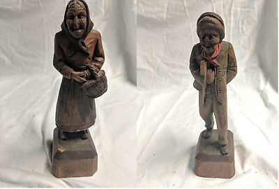HAND CARVED WOODEN PEASANT ELDERLY COUPLE 8 inches STATUE, FIGURE, SCULPTURE