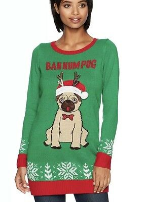 blizzard bay womens bah hum pug tunic ugly christmas sweater new medium