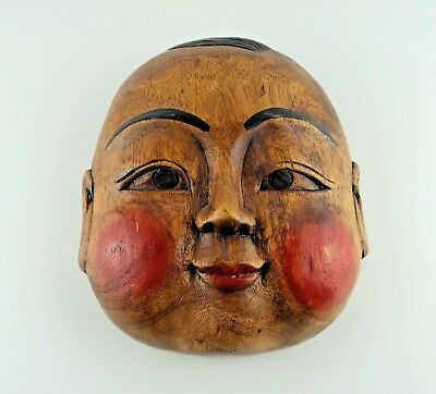 Japanese Vintage Wooden Noh Mask Hand Carving Ornament Wall Decoration