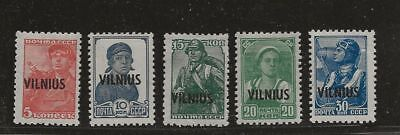 Lithuania German Occupation Mlh Stamps Overprinted Vilnius
