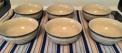 "Longaberger Pottery ""SMALL CABANA STRIPE BOWLS"" Set Of 6 Free Table Topper"