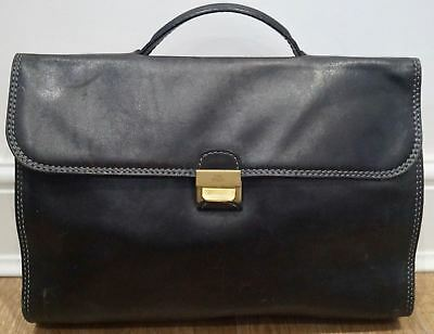 THE BRIDGE Black 100%  Leather Hand Held Flap Over Fastened Business Briefcase
