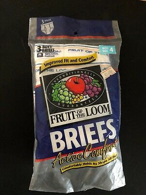 VINTAGE BOYS NEW WHITE Y FRONTED FRUIT OF THE LOOM BRIEFS 4yrs