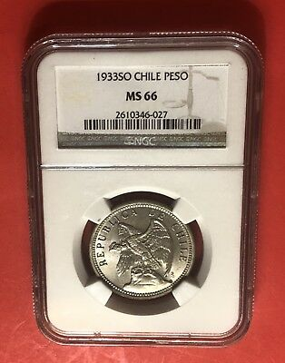 Chilie -1933-So Uncirculated 1 Peso Condor T,graded By Ngc 66.