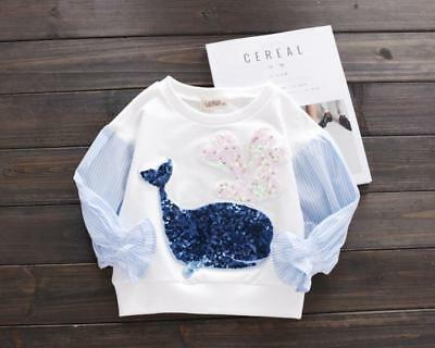 1pc Toddler Kids baby girls tops T shirt pullover kid girl top outerwear Whale