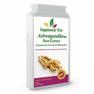 ASHWAGANDHA Root Extract 600mg 120 Capsule 5% Withanolides Stress Fatigue Relief