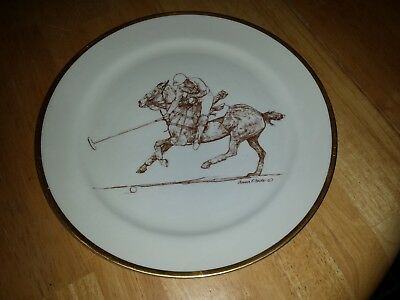 """Polo Scene #3 Dinner Plate 11""""signed Anna P Foote"""