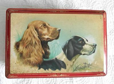 "Old LARGE Tin Box With KEY!! Hunting Dogs Belgium 1940s Lokeren 12"" W"