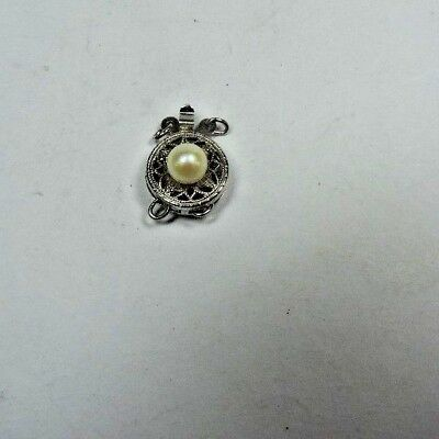 Antique Sterling Silver Filigree Double 2 Strand Pearl Bead Clasp w/ Pearl #MB29