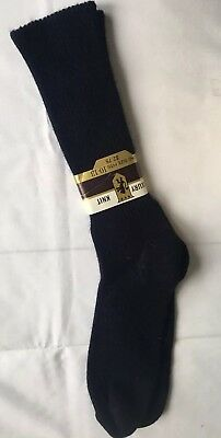 Vintage  Mens Crew Socks Orlon Nylon Luxury Knit size 10-13 Navy Blue soft fuzzy