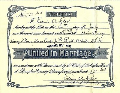 ANTIQUE FRAMED Marriage Wedding Certificate 1896 - Chicago, IL - ME ...