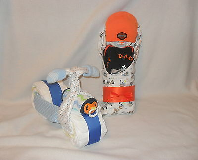 "BOY!  ""My Daddy Rides A Harley""  Diaper Cake Baby & Diaper Motorcycle!!"
