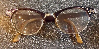 Vtg Artcraft Cat Eye Aluminum & Black Eyeglass Frames Art Craft