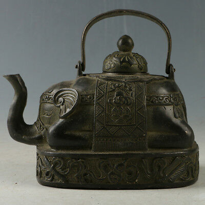 Chinese Rare Bronze Elephant Trunk Teapot Made By The Royal Daming HST0043`c