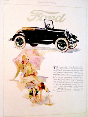 1926 magazine AD: Color Ford car auto print ad: large art, pretty girl and car
