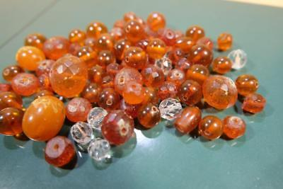 Lot Chinese Natural Old Amber Beads For Necklace.