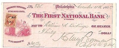 "CIVIL WAR U. S. Army Check 1865 ""DESIGNATED DEPOSITORY OF THE UNITED STATES"""
