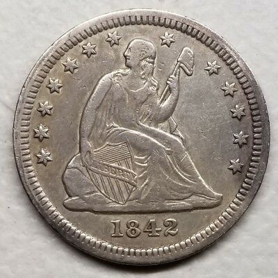 1842 O Seated Liberty Silver Quarter 25C Large Date