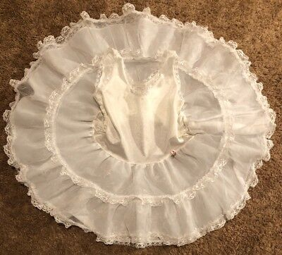 Vintage Her Majesty Girls Slip Full Circle Crinolin 3T Baby Doll Ruffles White