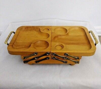 Vintage Mid-Century Modern Serving Snack Buffet Tray Wood Fold Away