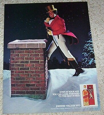 1983 ad page - Johnnie Walker Scotch Whisky -man in red- Vintage Print ADVERT