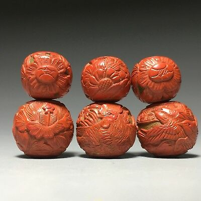 Chinese Lacquer Cinnabar 6 Beads Figural Carved Birds Roosters Flowers